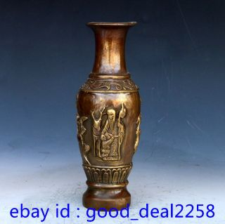 Chinese Bronze Hand Carved Longevity & Deer & Child Vase W Xuande Mark photo