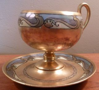 Signed Antique Gold - Encrusted With Art Deco Designs Pedestal Cup And Saucer photo