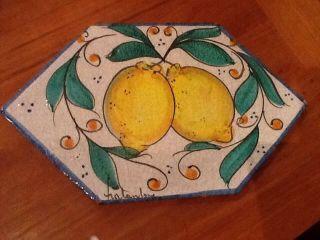 Vintage Fratantoni Vietri Italian Pottery Tile Lemons Wall Plaque Signed photo