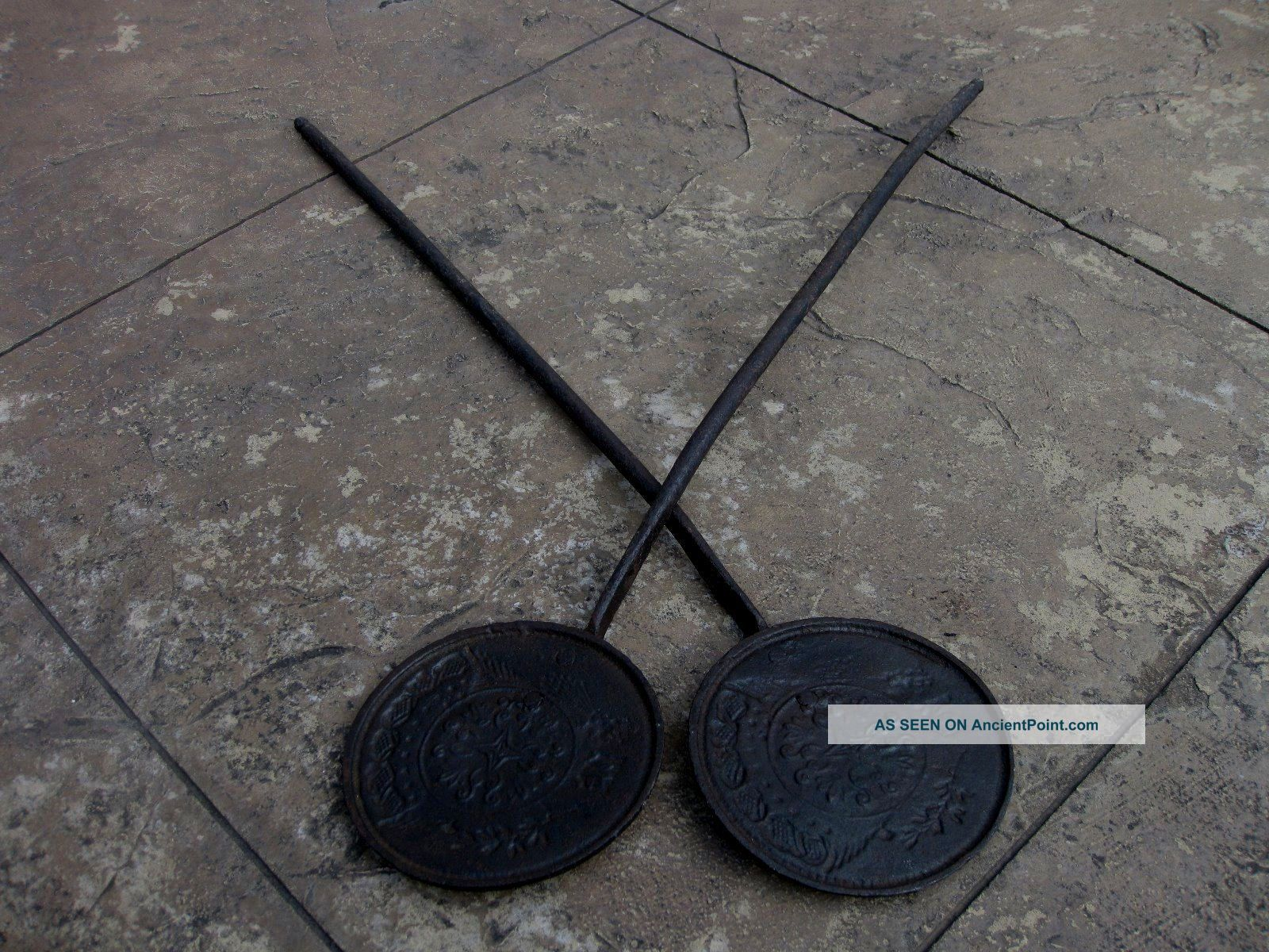 American Cast Iron Wafer Maker,  Hand Forged,  C.  Late 1700 ' S To Early 1800 ' S Hearth Ware photo