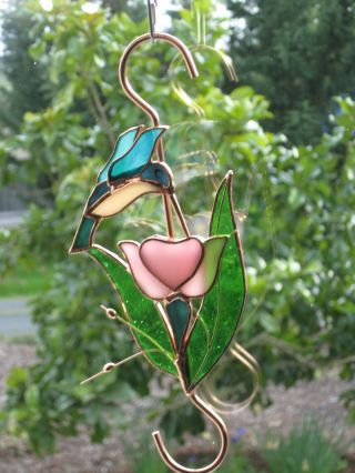 Hummingbird Over 3 - D Pink Flower Stained Glass & Copper Plant Hook Holds 50, photo