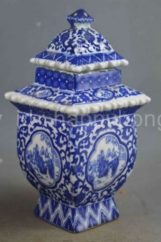 Collectible Handwork Jingdezhen Porcelain Paint Flower Rattan Fortune Spice Pots photo