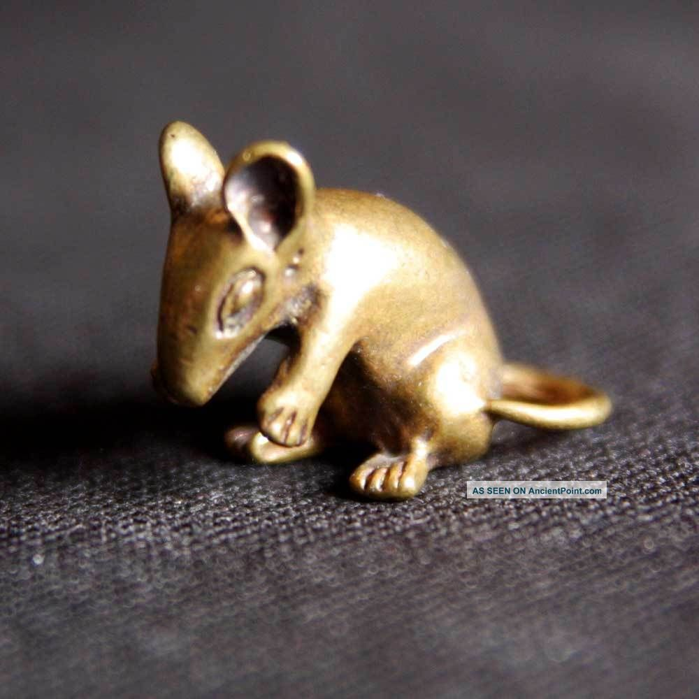 Thai Amulets Lucky Animal Rat Mouse Brass Mini Statue Figurine Charm