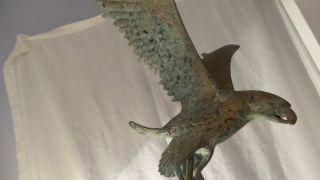 Vintage Large Brass Eagle Flag Weather Vane Topper Talons Patina Cool Nr photo