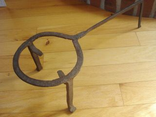 Primitive Antique Blacksmith Hand Wrought Iron Fireplace Hearth Trivet Pot Stand photo