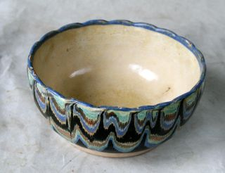 Antique 19`c Ottoman Empire Handmade Redware Glased Pottery Ceramic Dish Bowl 01 photo
