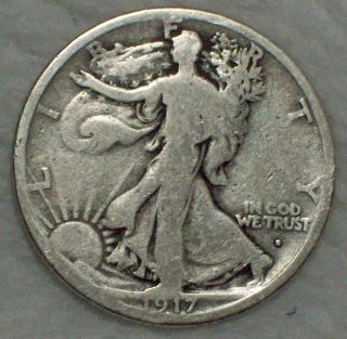 1917 S Silver Walking Liberty Half Dollar Obverse Mintmark - Nicely Circulated photo
