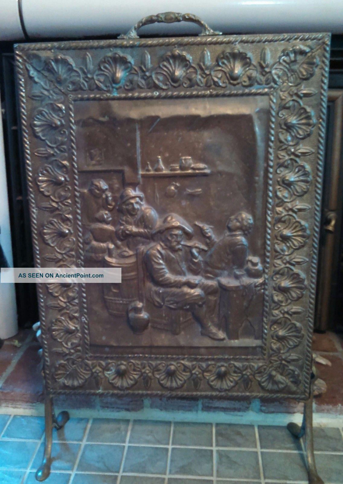 Vintage Embossed Copper/tin/brass Pub Scene Fireplace Screen Hearth Ware photo