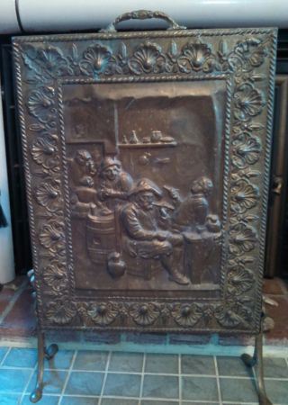 Vintage Embossed Copper/tin/brass Pub Scene Fireplace Screen photo