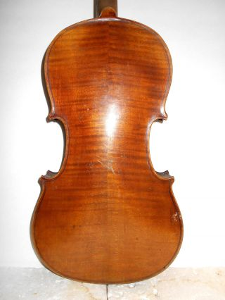Vintage Old Antique Full Size 2 Pc Curly Maple Back Violin - photo