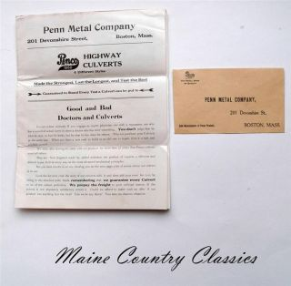 Antique 1915 Highway Culverts & Road Mesh Brochure & Envelope Penn Metal Company photo