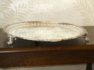 Large Ornate Mappin & Webb Silver Plated Footed Tray photo