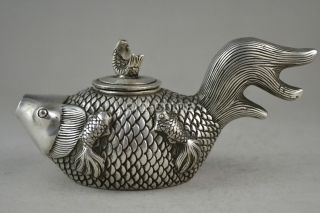 China Collectible Decorate Old Handwork Tibet Silver Carve Fish Lucky Teapot photo