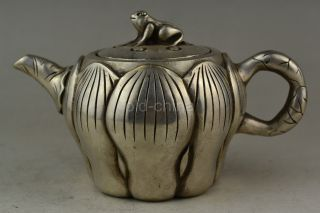 China Collectible Decorate Old Handwork Tibet Silver Lotus Frog Lid Noble Teapot photo