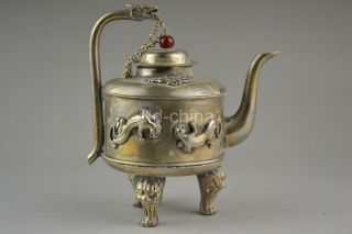 China Collectible Decorate Old Tibet Silver Carve Dragon Unique 3 Leg Teapot photo