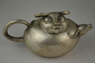 China Collectible Handwork Old Tibet Silver Carve Ox Delicate Teapot Decor photo