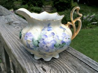 Antique 1884 - 1909 Mz Austria Bone China Creamer Hand - Painted,  Numbered & Signed photo