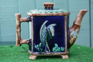 19thc Majolica Decorative Teapot With Stork & Other Decoration C1880s photo