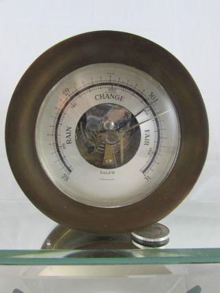 Vintage Salem Aneroid Ship's Barometer Compensated – Heavy Brass Marine photo