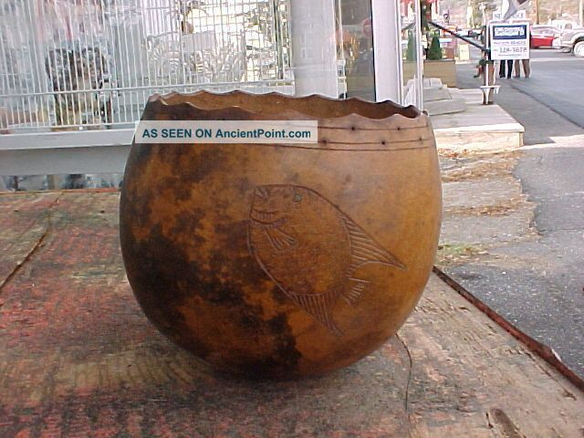 Folk Art Carved Carribean Calabash Gourd Wine Goblet Shell Vessel Folk Art photo