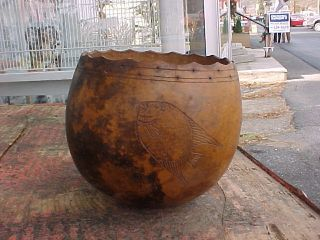 Folk Art Carved Carribean Calabash Gourd Wine Goblet Shell Vessel photo