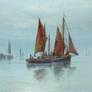 T.  Mortimer Antique British Seascape Painting Thames Barges Sails Signed 2 Of 2 photo