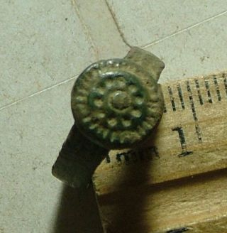 Rare Ancient Roman Byzantine Protection Ring Artifact Shield Size 5 photo