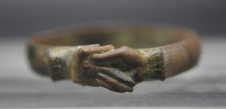 "Late Medieval Copper Alloy 'fede' Wedding Ring ""clasped Hands Design"" photo"