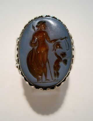 Ancient Roman Hardstone Agate Intaglio Cameo Seal Sterling Silver Ring photo