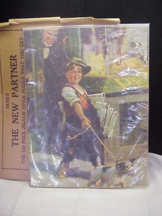 Vintage Kolynos Dental Cream Jig - Saw Picture Puzzle,  News Boy W/dog,  C1930 ' S photo