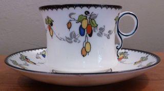 Antique Fenton Art Deco Bone China Sloe Stylized Fruit Pattern Cup And Saucer photo