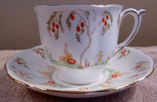 Antique Fine Bone Bell China Art Deco Fruit Tree Cup And Saucer,  Raised Red Dots photo