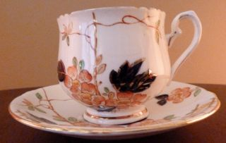 Vintage Art Deco Phoenix (tf&s) Cobalt,  Orange And Gold Floral Cup And Saucer photo