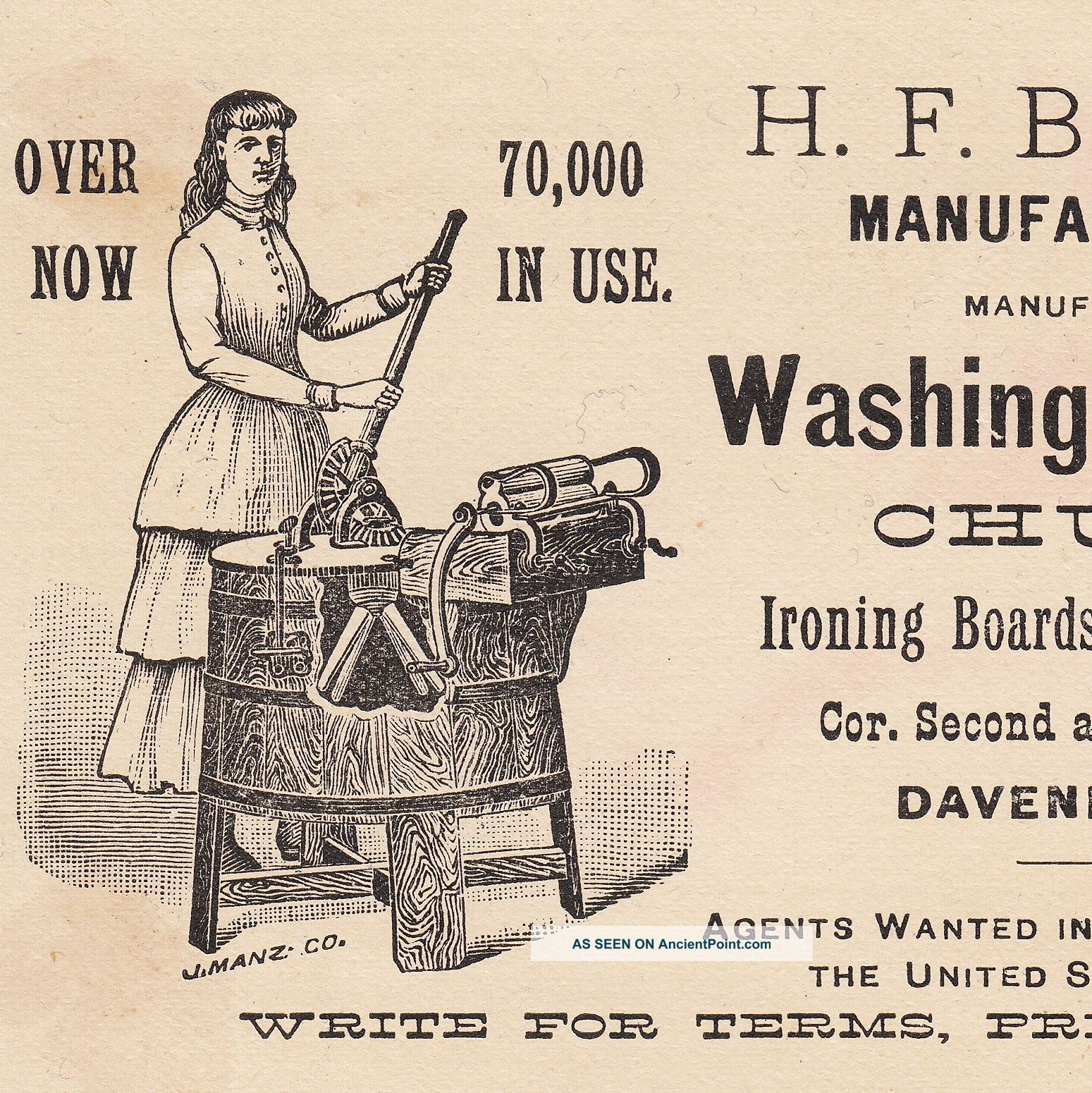 Primitive Antique 1800 ' S Brammer Washing Machine Davenport Iowa Advertising Card Washing Machines photo
