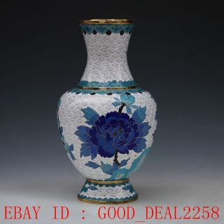 Exquisite Chinese Cloisonne Hand - Carved Peony & Bird Vases photo