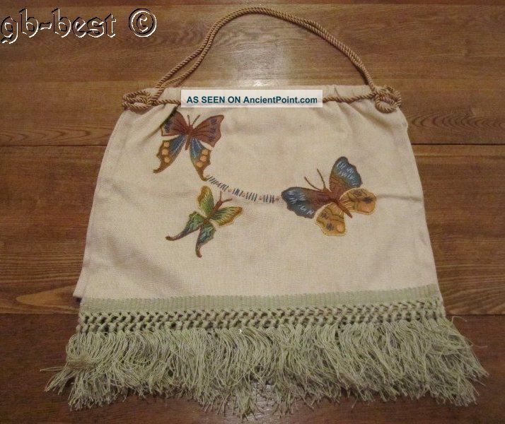 Classic 1920/30s Butterflies Sewing Bag Other Antique Sewing photo