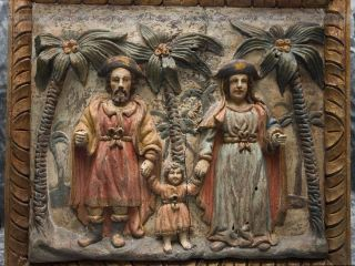 Rare Christian Holy Family Panel,  Church Interior Decor - Antique Artifacts photo