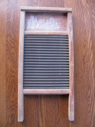 Vtg Midget National Washboard No.  442 Primitive Wood Metal 18