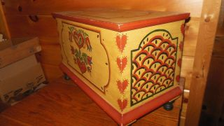 Vintage Handmade Child ' S Wooden Blanket Chest With Wonderful Paint photo
