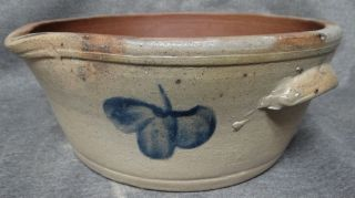 19thc Antique Primitive Old Country Stoneware Batter Bowl Pottery Cream Crock photo