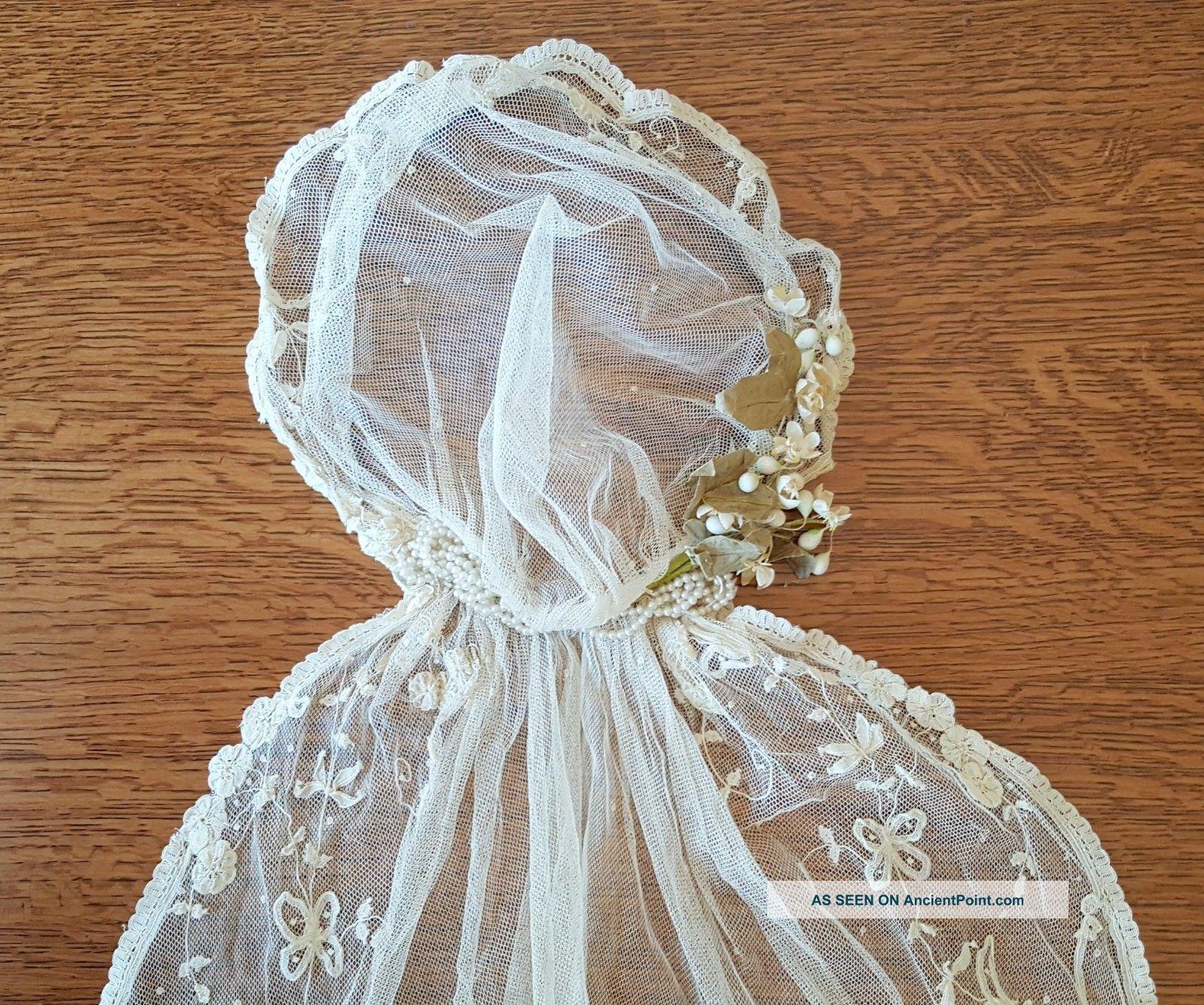 antique edwardian tambour lace wedding veil ivory juliet cap
