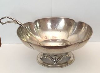 Sterling Silver Cellini Arts & Craft Handwrought Hammered Bowl And Ladle photo