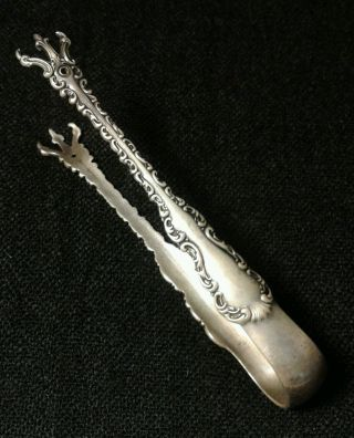 Victorian Antique 1891 Sterling Silver Sugar Tongs Chicken Claw Ornate Vtg Rare photo