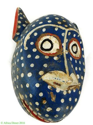 Bozo Mask Blue Spotted With Ears Mali African Art Was $49 photo