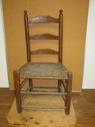 Extremely Rare 18th C Pennsylvania Ladder Back Hearth Chair In Old Grain Paint photo