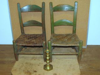Rare 19th C Child ' S 2 Slat Ladderback Chairs In Great Old Green Paint photo