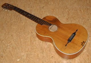 Vintage Antique German Parlor Guitar,  Good Playable,  Good Sound photo
