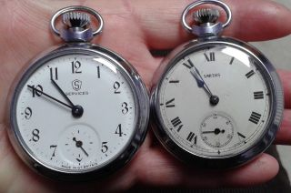 Collectable Smiths & Services Plated Pocket Watches photo
