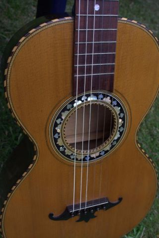 Rare Vintage Antique Old Romantic Inlaid Parlor Guitar 1875 Late 19th Century photo