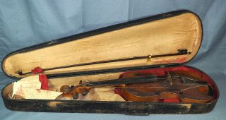 Antique 1614 Nicolas Amatus Fecit Cremona Violin W/ Wooden Gsb Coffin Case & Bow photo